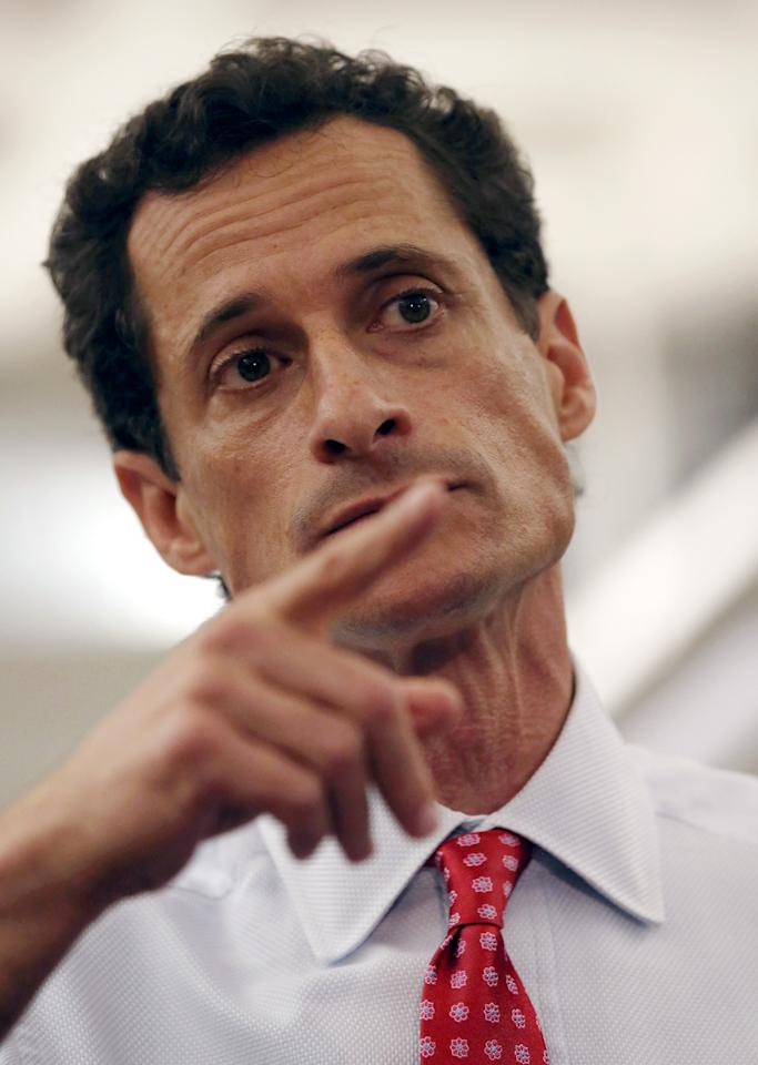 NEW YORK, NY - JULY 23: Anthony Weiner, a leading candidate for New York City mayor, answers questions at a press conference on July 23, 2013 in New York City. Weiner addressed news of new allegations that he engaged in lewd online conversations with a woman after he resigned from Congress for similar previous incidents. (Photo by John Moore/Getty Images)