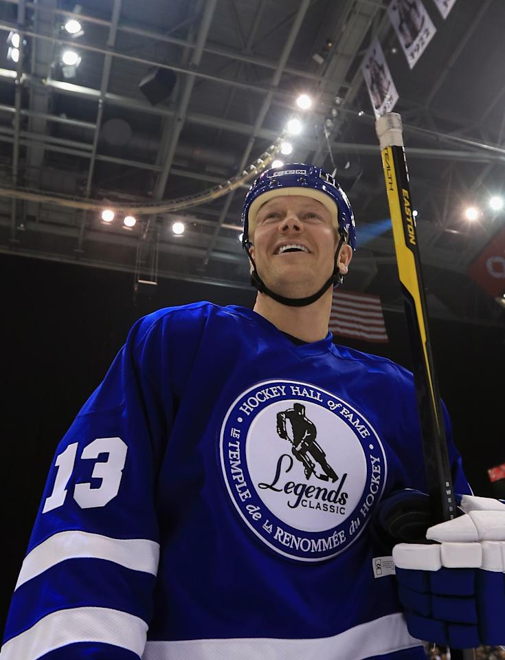TORONTO, ON - NOVEMBER 11:  Mats Sundin skates off the ice following the Hockey Hall of Fame Legends Game at the Air Canada Centre on November 11, 2012 in Toronto, Canada. Sundin will be inducted into the Hockey Hall of Fame at a ceremony at the Hall on November 12.  (Photo by Bruce Bennett/Getty Images)