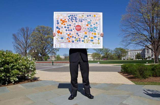 Glynn McGehee, an aide with Rep. Tom Price, R-Ga., holds a poster that mocks the organizational complexity of the health care law being argued.