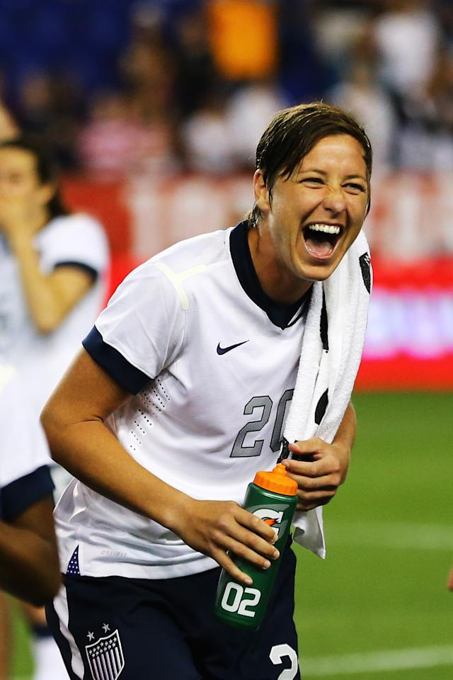 HARRISON, NJ - JUNE 20: Abby Wambach #20 of the USA reacts to the crowd after a 5-0 win against Korea Republic after Wambach broke Mia Hamm's alltime International goal scoring record with 159 at Red Bull Arena on June 20, 2013 in Harrison, New Jersey. (Photo by Al Bello/Getty Images)