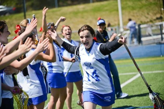 Katherine Zisis celebrates her introduction before Senior Night at Roslyn High — Facebook.com:Newsday