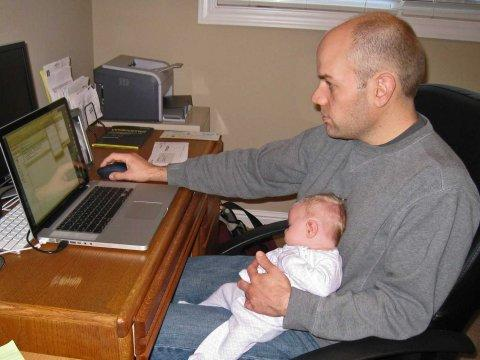 laptop baby work form home