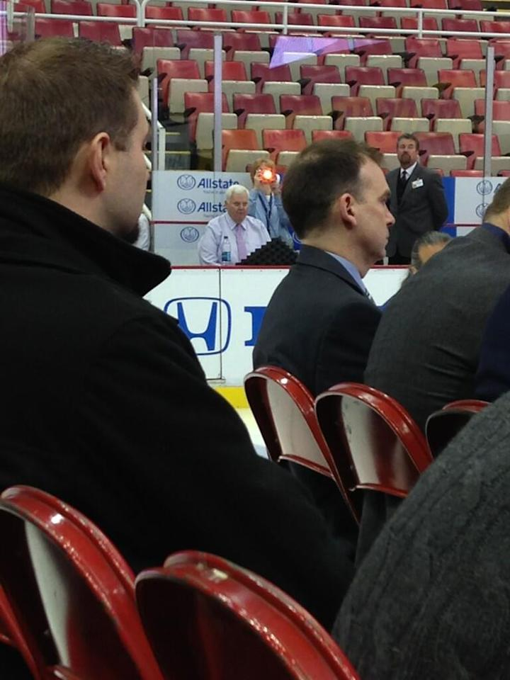 St. Louis Blues coach Ken Hitcock relegated to the bench at Joe Louis Arena for the 2014 Winter Classic announcement (Photo by Nick Cotsonika @cotsonika)