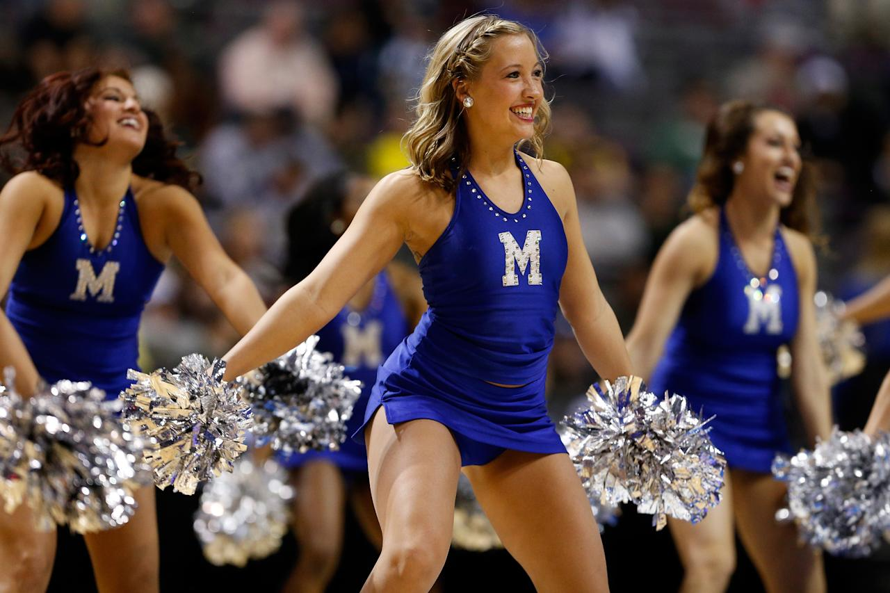 AUBURN HILLS, MI - MARCH 21:  Cheerleaders for the Memphis Tigers perform against the St. Mary's Gaels during the second round of the 2013 NCAA Men's Basketball Tournament at at The Palace of Auburn Hills on March 21, 2013 in Auburn Hills, Michigan.  (Photo by Gregory Shamus/Getty Images)