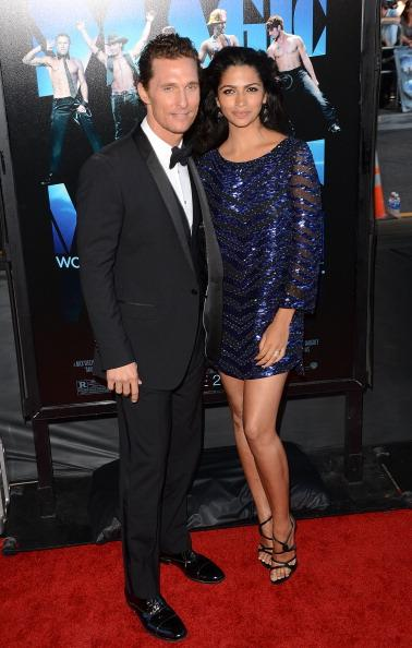 "<div class=""caption-credit""> Photo by: Getty Images</div><div class=""caption-title"">Matthew McConaughey and Camila Alves</div>The actor and his Brazilian wife were also chosen as part of Huffington Post's <i>2012 Best Dressed Newylyweds</i> , taking the sixth position. Alves, in a blue sequined Marchesa mini dress, and McConaughey in classic Dolce & Gabbana tuxedo, looked impressive at the ""Magic Mike"" premiere."