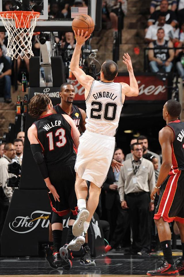 SAN ANTONIO, TX - JUNE 16: Manu Ginobili #20 of the San Antonio Spurs attempts a shot during Game Five of the 2013 NBA Finals against the Miami Heat on June 16, 2013 at the AT&T Center in San Antonio, Texas. (Photo by Andrew D. Bernstein/NBAE via Getty Images)