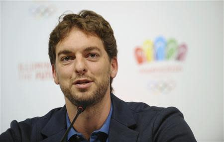 Spain's basketball player Pau Gasol attends a news conference in Buenos Aires