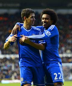 Brazilians Oscar (L) and Willian both ply their trade for Chelsea in the English Premier League. (Getty)