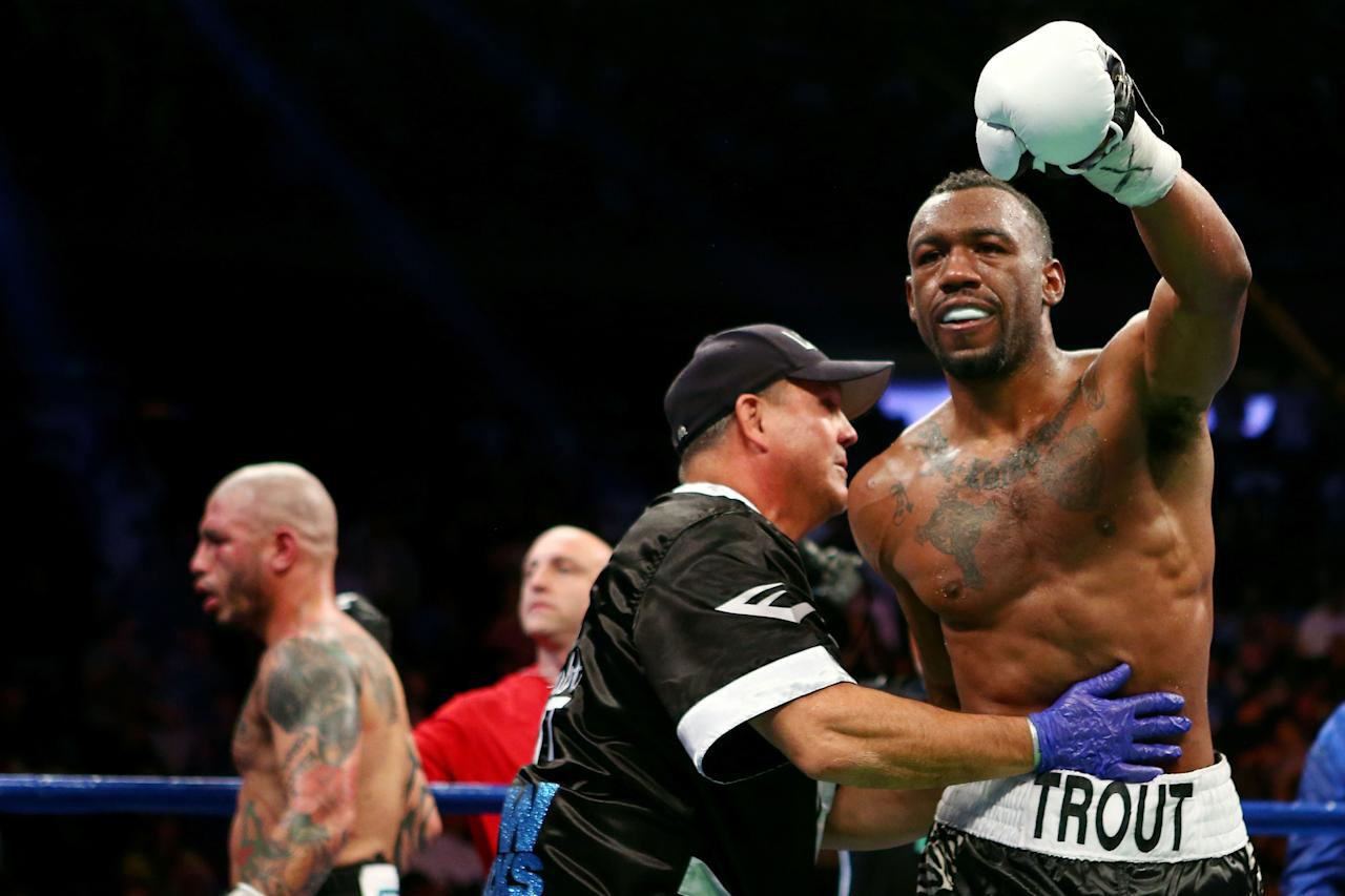 NEW YORK, NY - DECEMBER 01:  Austin Trout celebrates after fighting against Miguel Cotto in their WBA Super Welterweight Championship title fight at Madison Square Garden on December 1, 2012 in New York City.  (Photo by Elsa/Getty Images)