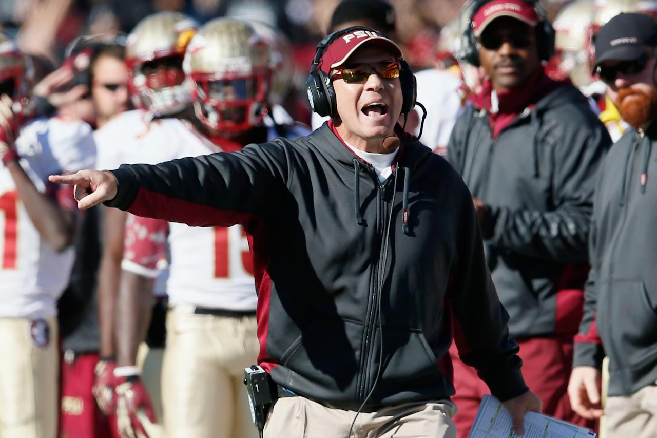 COLLEGE PARK, MD - NOVEMBER 17: Head coach Jimbo Fisher of the Florida State Seminoles yells at an official duirng the first half of the Seminoles 41-14 win over the Maryland Terrapins at Byrd Stadium on November 17, 2012 in College Park, Maryland.  (Photo by Rob Carr/Getty Images)