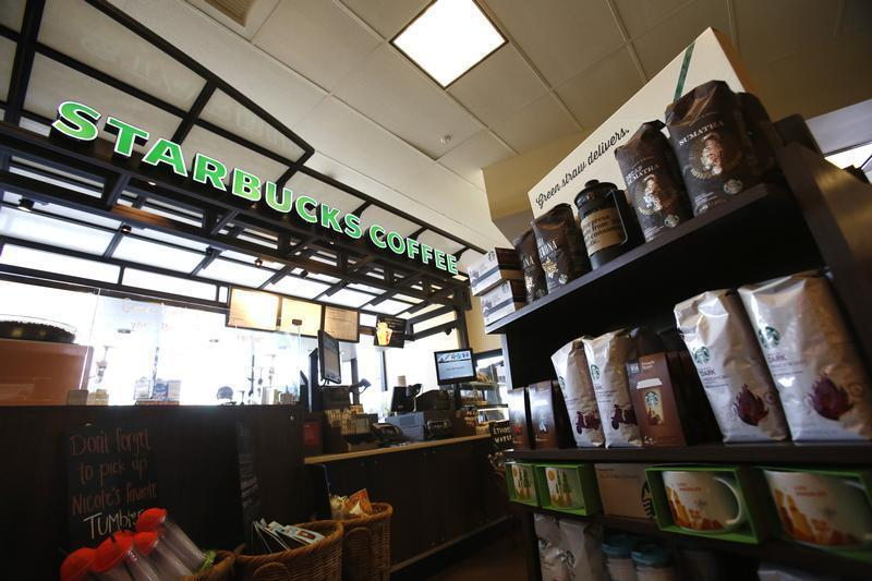 Coffee packages are pictured on display at a Starbucks Coffee store in Pasadena