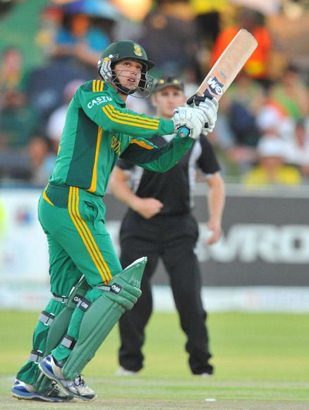 Quinton de Kock of South Africa hits a six during the 2nd One Day International match between South Africa and New Zealand at De Beers Diamond Oval on January 22, 2013 in Kimberley, South Africa. (Photo by Duif du Toit/Gallo Images/Getty Images)