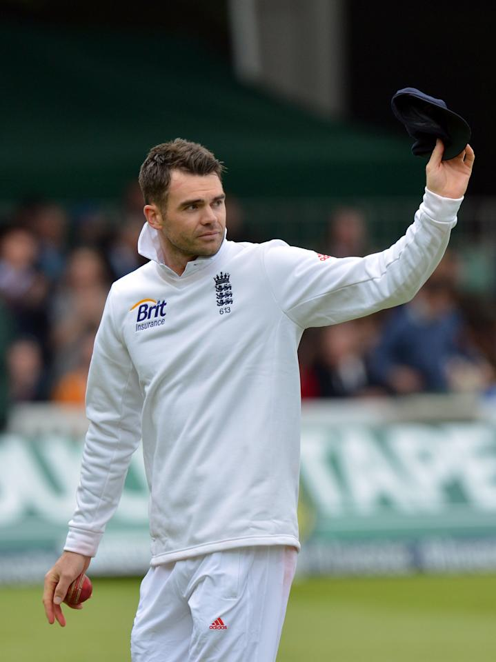 England's James Anderson acknowledges the crowd after taking five wicketsduring the first test at Lord's Cricket Ground, London.