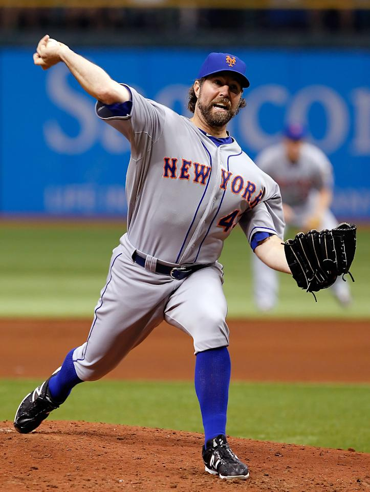 ST. PETERSBURG, FL - JUNE 13:  Pitcher R.A. Dickey #43 of the New York Mets pitches against the Tampa Bay Rays during the game at Tropicana Field on June 13, 2012 in St. Petersburg, Florida.  (Photo by J. Meric/Getty Images)