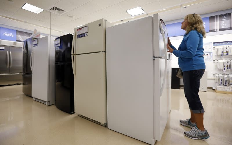 Inta Krueger shops for a refrigerator at a Sears store in Schaumburg, Illinois, near Chicago
