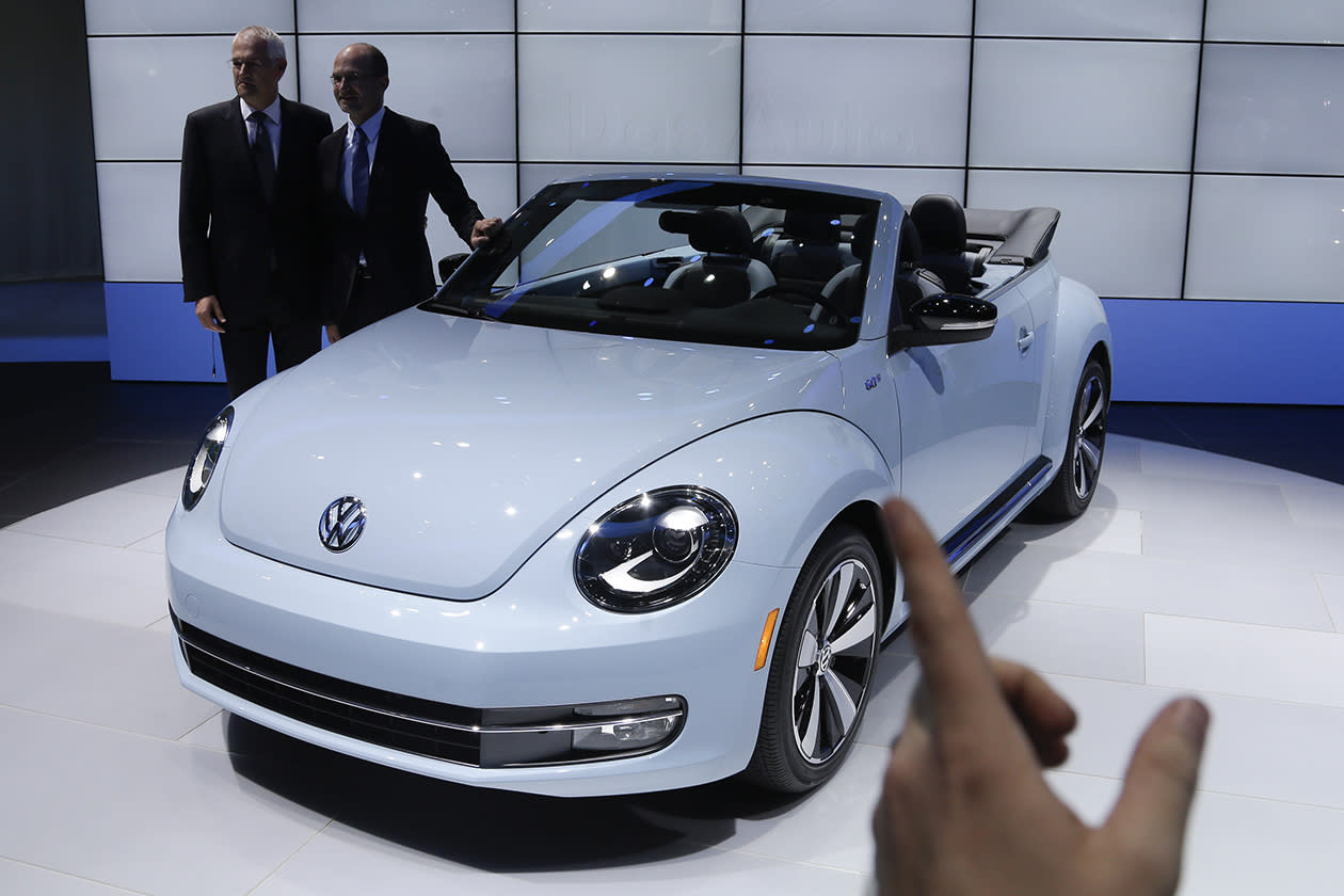 <b>Volkswagen Beetle</b><br><br>Volkswagen Beetle convertible is shown during it's world debut at the LA Auto Show.