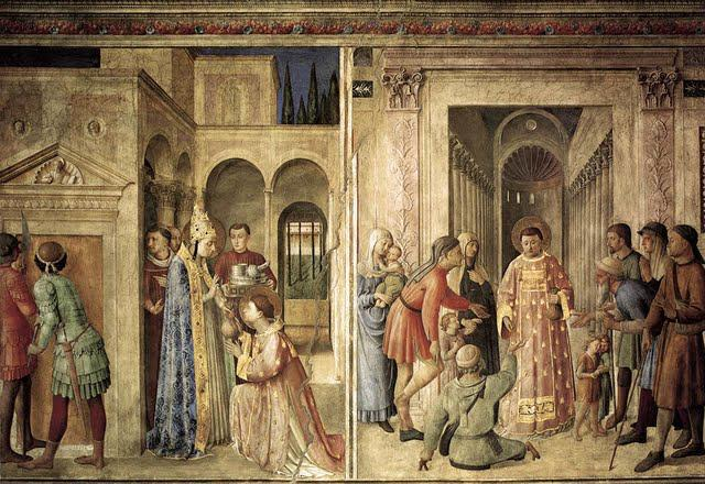 St. Lawrence receives the treasures of the Church and distributes alms.