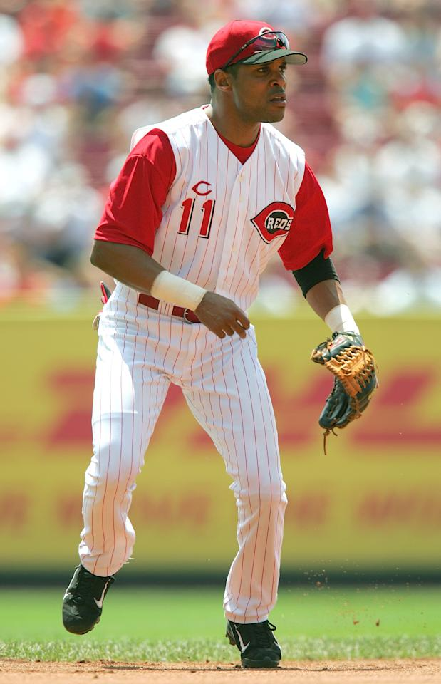 CINCINNATI, OH - FILE:  Barry Larkin #11 of the Cincinnati Reds focuses on home plate as he prepares for a play during the interleague game against the Texas Rangers at the Great American Ball Park on June 17, 2004 in Cincinnati, Ohio. It was reported that former Cincinnati Reds shortstop Barry Larkin was elected to the Baseball Hall of Fame January 9, 2012.  (Photo by Matthew Stockman/Getty Images)