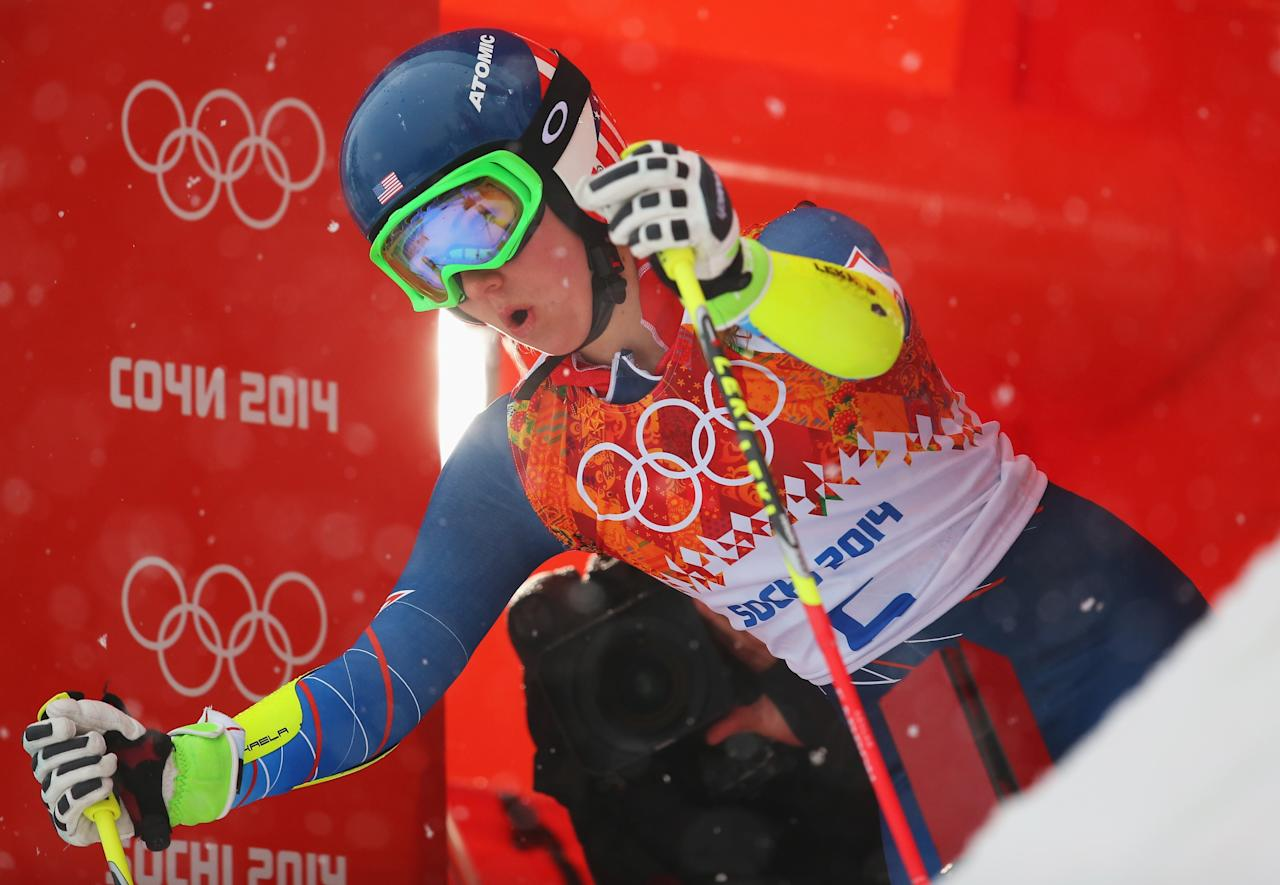 SOCHI, RUSSIA - FEBRUARY 18: Mikaela Shiffrin of the United States prepares to make a run during the Alpine Skiing Women's Giant Slalom on day 11 of the Sochi 2014 Winter Olympics at Rosa Khutor Alpine Center on February 18, 2014 in Sochi, Russia. (Photo by Alexander Hassenstein/Getty Images)