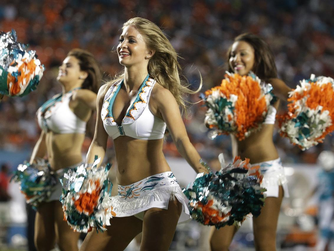 Miami cheerleaders perform during the second half of an NFL preseason football game against the Dallas Cowboys, Saturday, Aug. 23, 2014 in Miami Gardens, Fla. (AP Photo/Lynne Sladky)