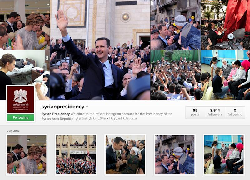 Latest platform for Syria's president: Instagram