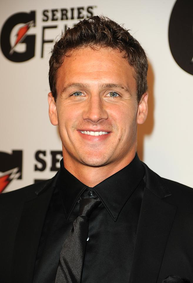 """LOS ANGELES, CA - APRIL 12: Ryan Lochte arrives at Gatorade's """"G Series Fit"""" Launch Party at the SLS Hotel on April 12, 2011 in Los Angeles, California.  (Photo by Frazer Harrison/Getty Images)"""