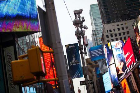 Security cameras are seen in Times Square as preparations continue for Super Bowl XLVIII in New York January 26, 2014. REUTERS/Eric Thayer/File Photo