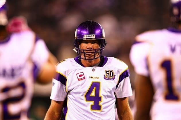 Brett Favre during his final season with the Vikings — Getty Images