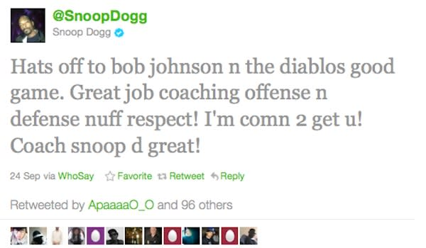 Snoop Dogg's Tweet after Mission Viejo victory