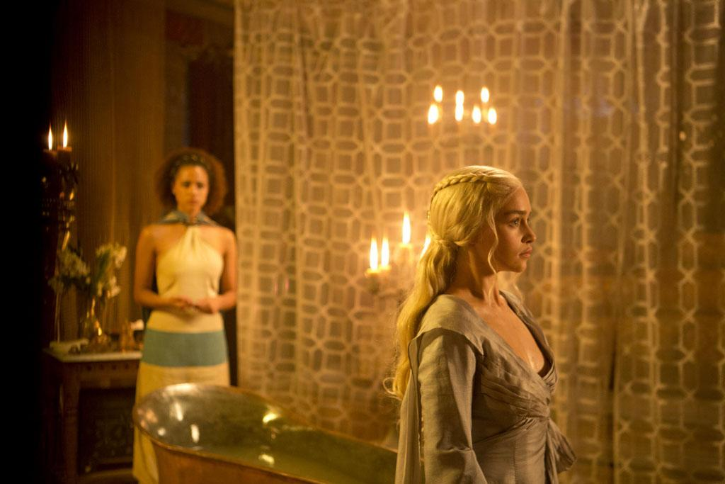 """Nathalie Emmanuel and Emilia Clarke in the """"Game of Thrones"""" episode, """"Second Sons."""""""