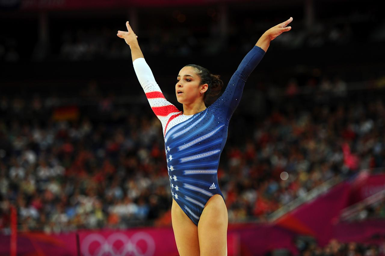 Alexandra Raisman of the United States reacts after she competes on the beam during the Artistic Gymnastics Women's Beam final on Day 11 of the London 2012 Olympic Games at North Greenwich Arena on August 7, 2012 in London, England.  (Photo by Michael Regan/Getty Images)