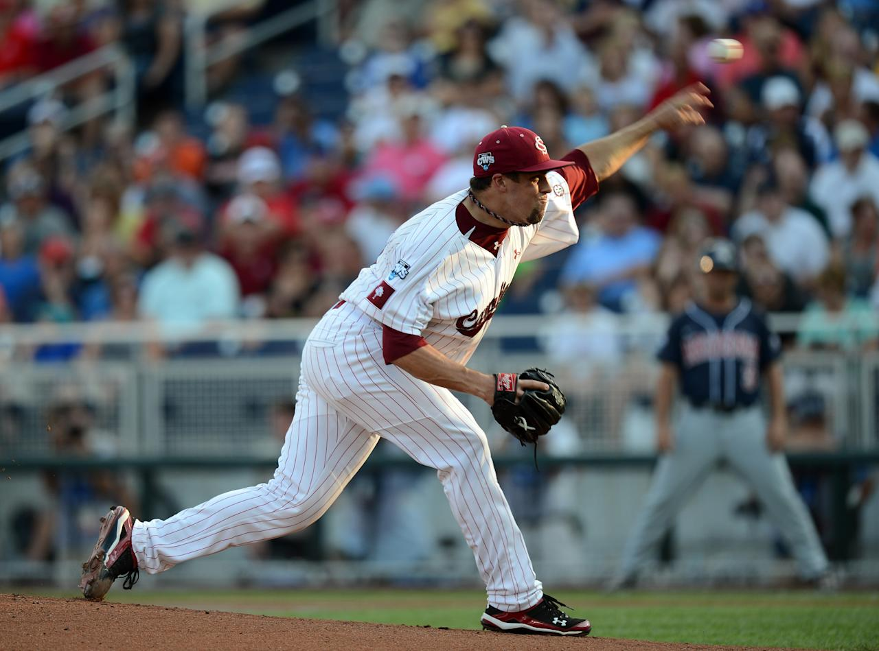 OMAHA, NE - JUNE 25:  Michael Roth #29 of the South Carolina Gamecocks pitches in the first inning against the Arizona Wildcats during game 2 of the College World Series at TD Ameritrade Field on June 25, 2012 in Omaha, Nebraska.  (Photo by Harry How/Getty Images)