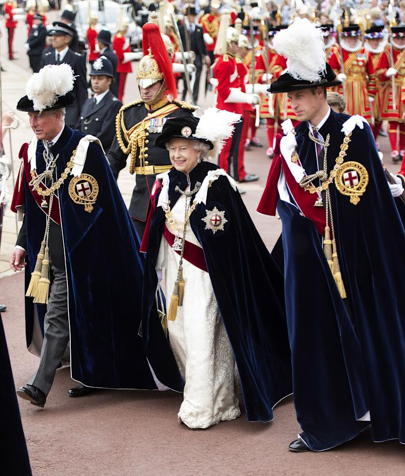 WINDSOR, ENGLAND - JUNE 17: Queen Elizabeth II, Prince Charles, Prince of Wales and Prince William, Duke of Cambridge attend the Order Of The Garter Service at St George's Chapel on June 17, 2013 in Windsor, England. (Photo by Mark Cuthbert/UK Press via Getty Images)