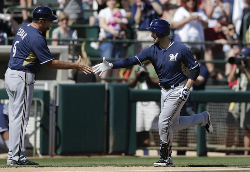 Braun homers in return, Brewers beat A's 11-3