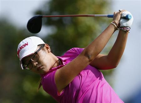 Ko of New Zealand tees off on the seventh hole during the third and final round of the women's Evian Championship golf tournament in Evian