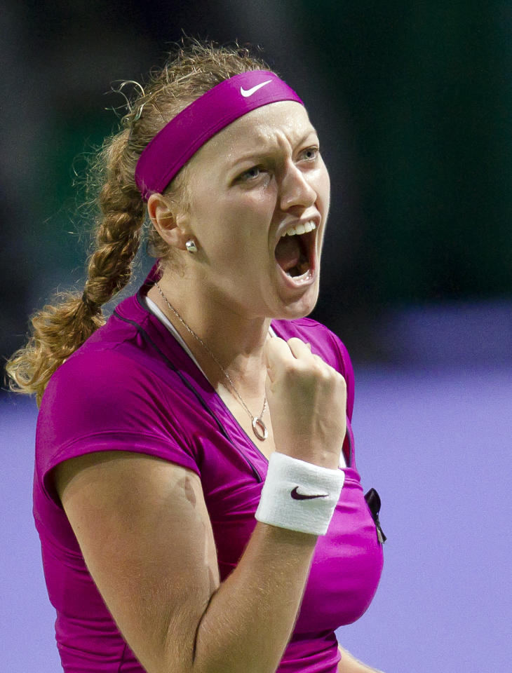 Petra Kvitova celebrates after defeating Vera Zvonareva in the first match of the WTA Championship finals in Istanbul, Turkey, Tuesday, Oct. 25, 2011.(AP Photo/Vadim Ghirda)