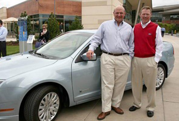 Microsoft's Steve Ballmer is one of the world's richest men but went for a fairly modest car. He's seen here with the CEO of Ford, taking possession of the Hybrid Fusion. The car retails for about $19,000--well within the budget for a new family car. information via Reuters.