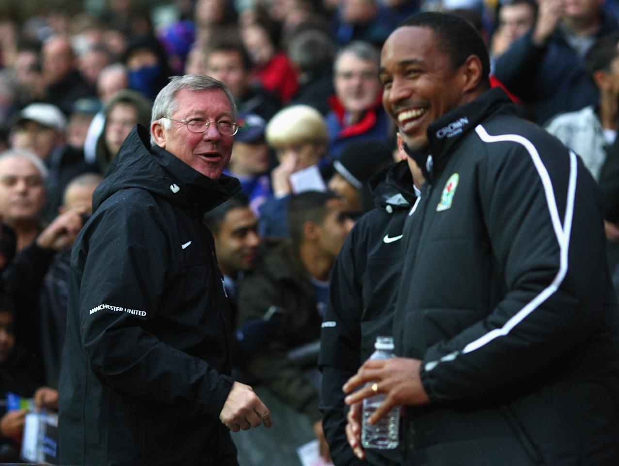 BLACKBURN, UNITED KINGDOM - OCTOBER 04:  Manchester United Manager Sir Alex Ferguson shares a joke with Blackburn Rovers Manager Paul Ince (R) prior to the start of the Barclays Premier League match between Blackburn Rovers and Manchester United at Ewood Park on October 4, 2008 in Blackburn, England.  (Photo by Laurence Griffiths/Getty Images)