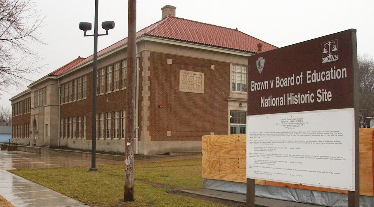 Work on the Brown v. Board of Education National Historic Site continues March 3, 2004, in Topeka, Kan. The site is housed in the Monroe School building and is to open May 17, 2004, on the 50th anniversary of the famous ruling. (AP Photo/Orlin Wagner)