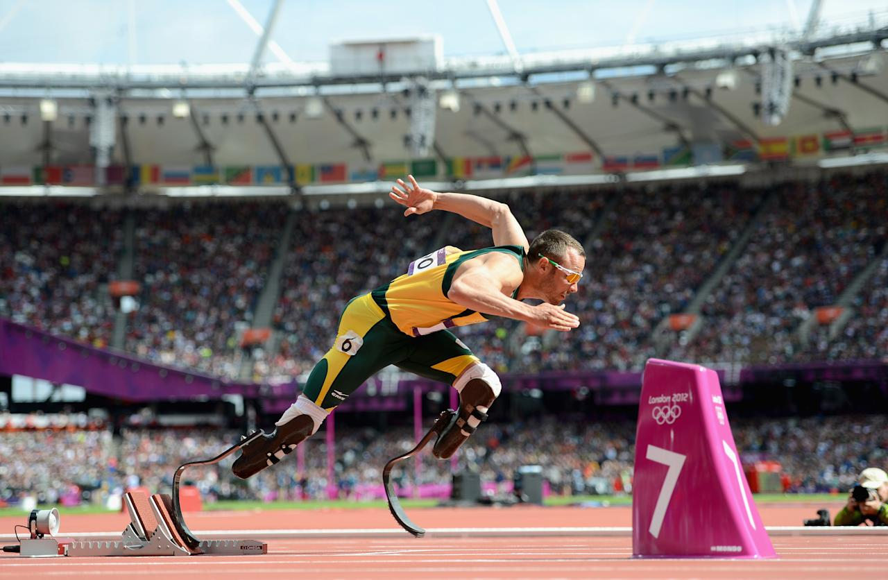 LONDON, ENGLAND - AUGUST 04:  Oscar Pistorius of South Africa competes in the Men's 400m Round 1 heat on Day 8 of the 2012 London Olympic Games at the Olympic Stadium in London, England.  (Photo by Julia Vynokurova/Getty Images)