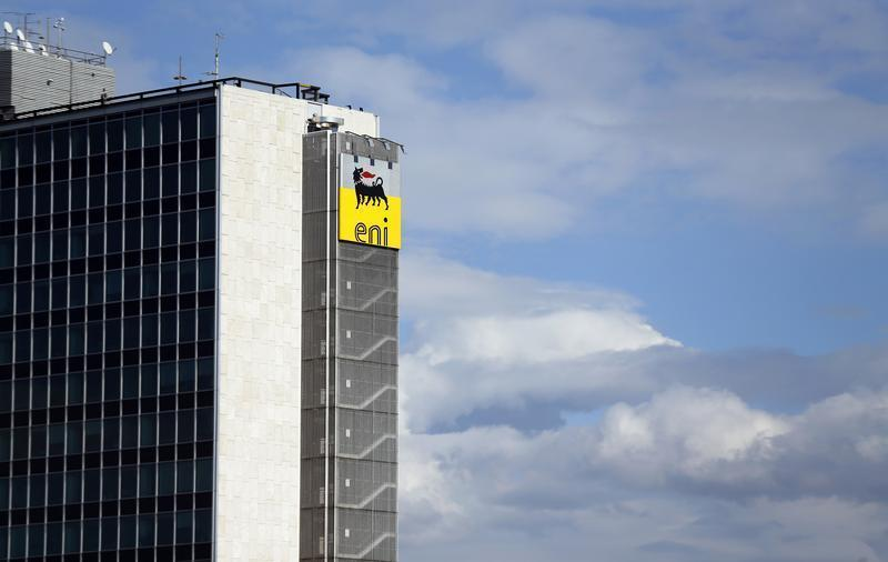 The logo of oil company Eni-Saipem is pictured at its headquarters in Rome