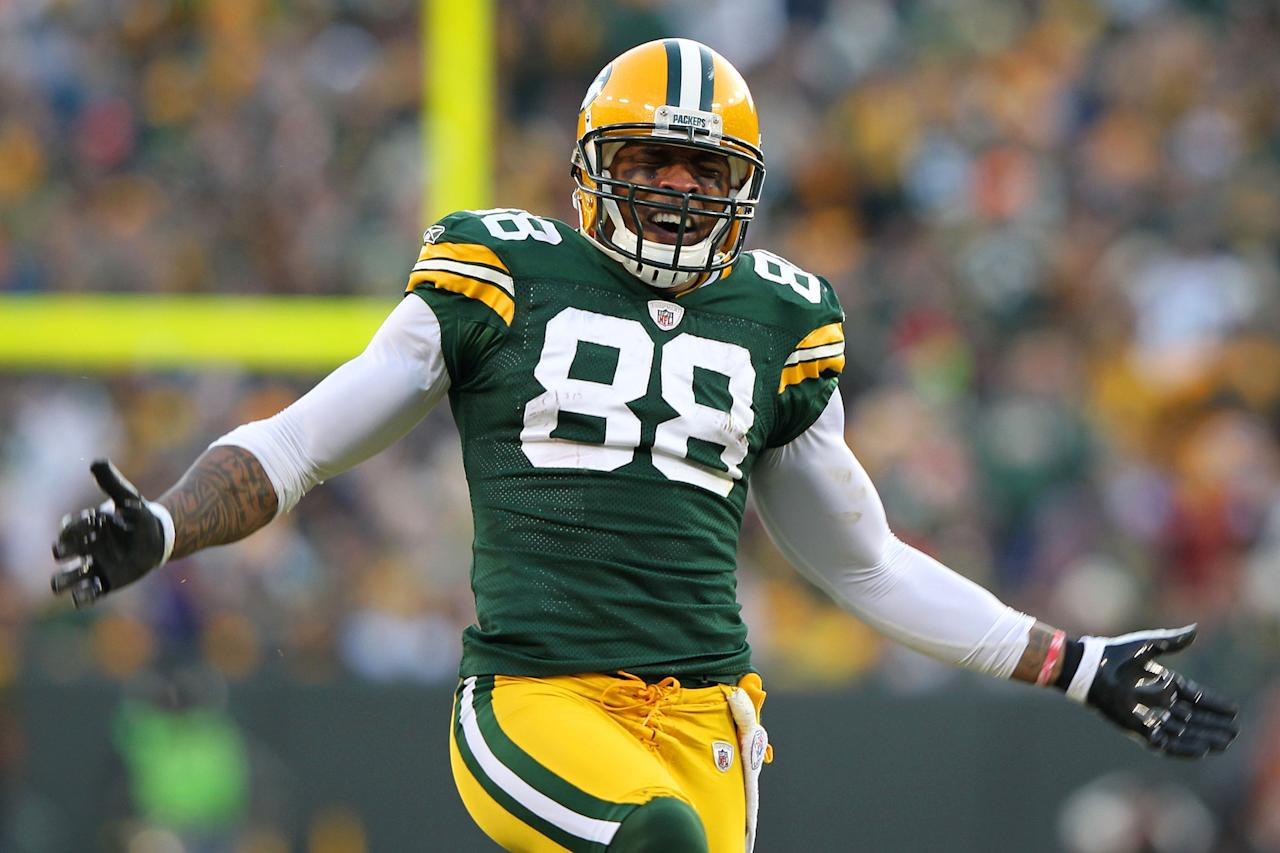 GREEN BAY, WI - JANUARY 15:   Jermichael Finley #88 of the Green Bay Packers reacts after a play against the New York Giants during their NFC Divisional playoff game at Lambeau Field on January 15, 2012 in Green Bay, Wisconsin.  (Photo by Jamie Squire/Getty Images)