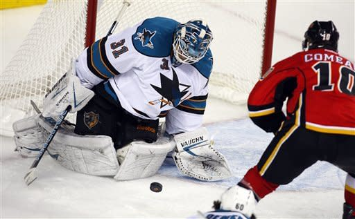 Niemi stops 25 shots as Sharks blank Flames 1-0