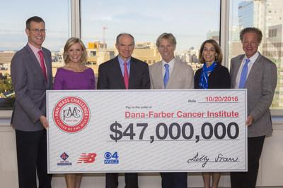 October 20, 2016 - The Pan-Mass Challenge announces $47 million milestone gift for cancer research and treatment at Dana-Farber Cancer Institute. Pictured from left to right: Sam Kennedy, president of the Boston Red Sox; Lisa Hughes, WBZ-TV anchor; Josh Bekenstein, co-chairman of Bain Capital and chairman of the Dana-Farber Board of Trustees; Billy Starr, founder and executive director of the Pan-Mass Challenge; Laurie Glimcher, M.D., president and chief executive officer of Dana-Farber Cancer Institute; David Fialko, managing director for General Catalyst and chairman of the Pan-Mass Challenge Board of Trustees