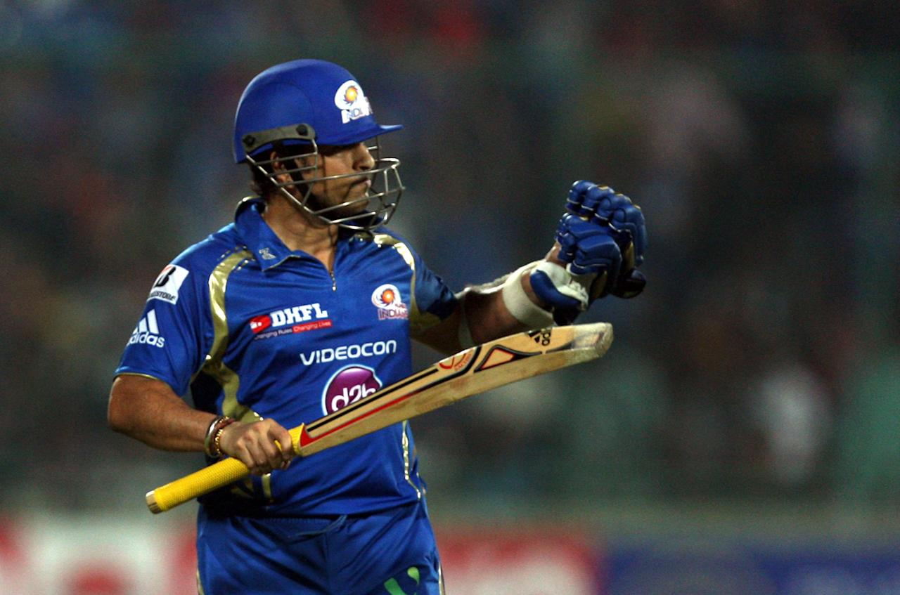 Sachin Tendulkar during the CLT20 Final between Rajasthan Royals and Chennai Super Kings at Feroz Shah Kotla stadium, in Delhi on Oct. 6, 2013.(Photo: IANS)