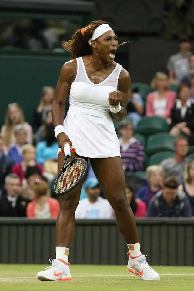 LONDON, ENGLAND - JUNE 29: Serena Williams of the United States of America celebrates a point during the Ladies' Singles third round match against Kimiko Date-Krumm of Japan on day six of the Wimbledon Lawn Tennis Championships at the All England Lawn Tennis and Croquet Club on June 29, 2013 in London, England. (Photo by Clive Brunskill/Getty Images)