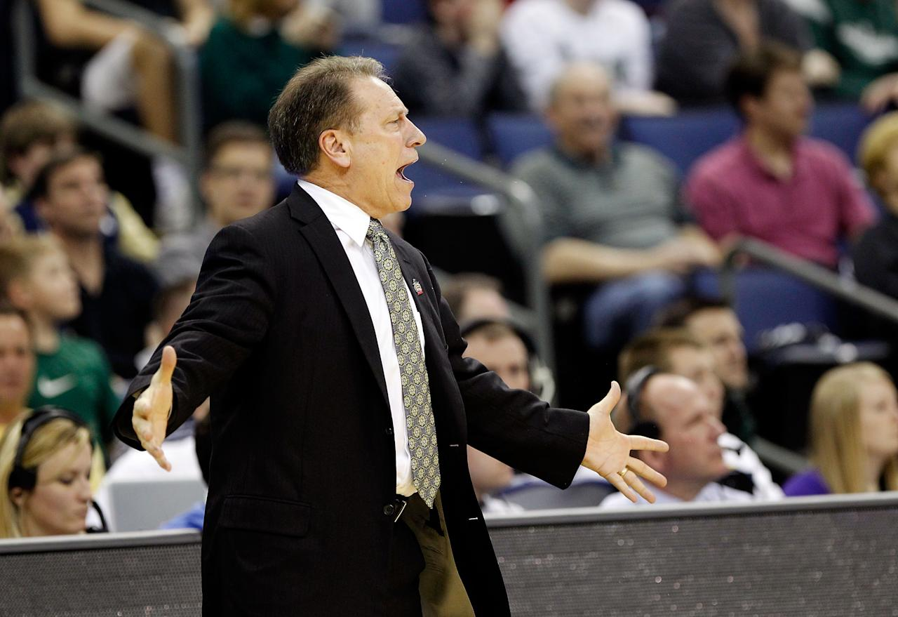 COLUMBUS, OH - MARCH 16:  Head coach Tom Izzo of the Michigan State Spartans reacts on the sideline during the second half against the LIU Brooklyn Blackbirds during the second round of the 2012 NCAA Men's Basketball Tournament at Nationwide Arena on March 16, 2012 in Columbus, Ohio.  (Photo by Rob Carr/Getty Images)