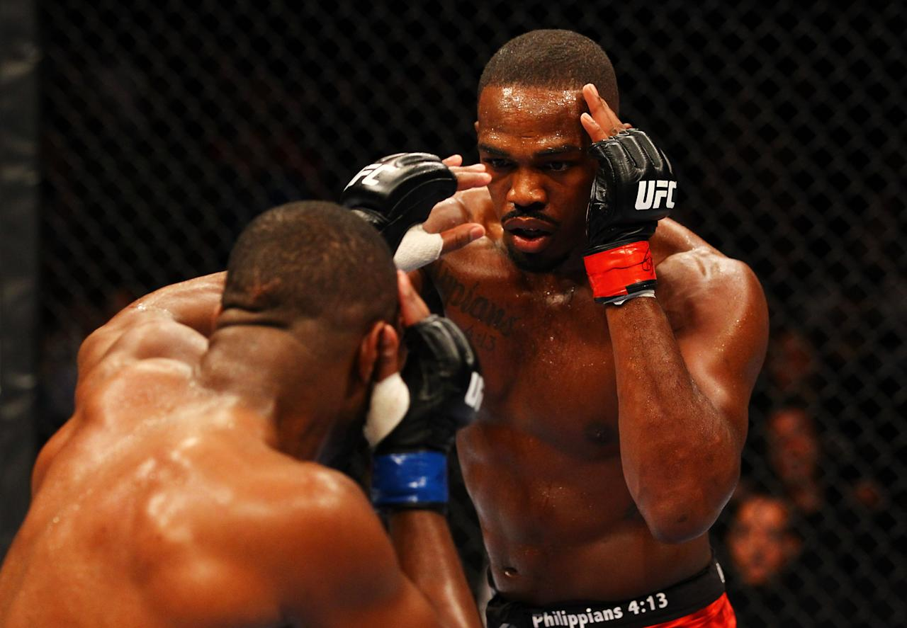 ATLANTA, GA - APRIL 21:  Jon Jones (R) fights Rashad Evans during their light heavyweight title bout for UFC 145 at Philips Arena on April 21, 2012 in Atlanta, Georgia.  (Photo by Al Bello/Zuffa LLC/Zuffa LLC via Getty Images)