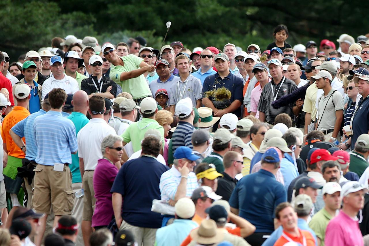 ARDMORE, PA - JUNE 14: Nicolas Colsaerts of Belgium hits his tee shot on the fourth hole during Round Two of the 113th U.S. Open at Merion Golf Club on June 14, 2013 in Ardmore, Pennsylvania. (Photo by Andrew Redington/Getty Images)