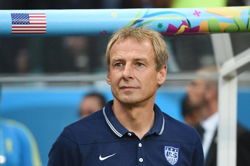 US German coach Juergen Klinsmann looks on during a Round of 16 football match between Belgium and USA at Fonte Nova Arena in Salvador during the 2014 FIFA World Cup on July 1, 2014